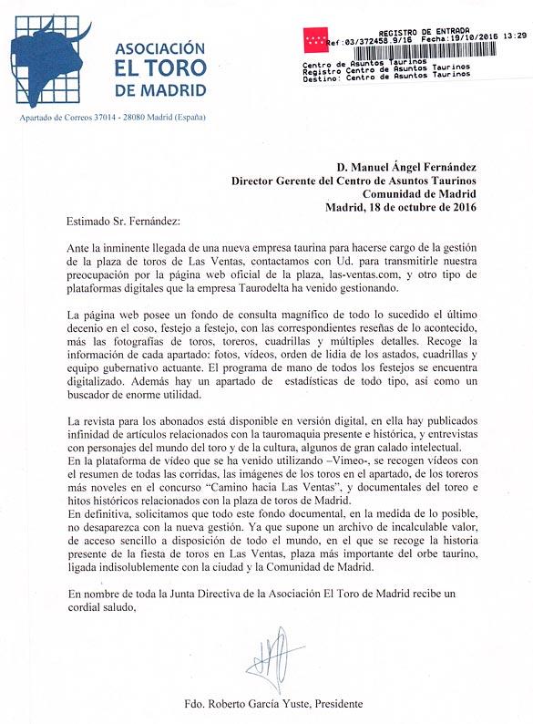 Carta de la Asociación El Toro a Don Manuel Ángel Fernandez