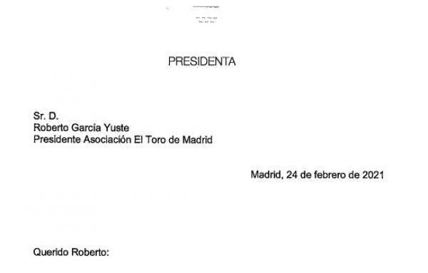 Carta de la presidenta de la CAM, Dña. Isabel Díaz Ayuso