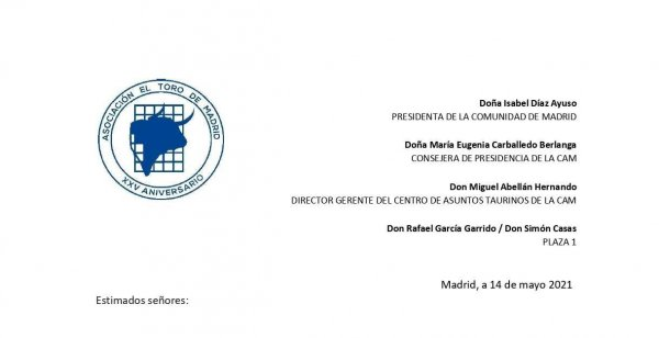 Carta a la presidenta de Madrid, CAT y Plaza1