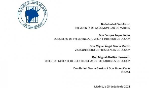 Carta a la presidenta de la Comunidad de Madrid, CAT y Plaza1